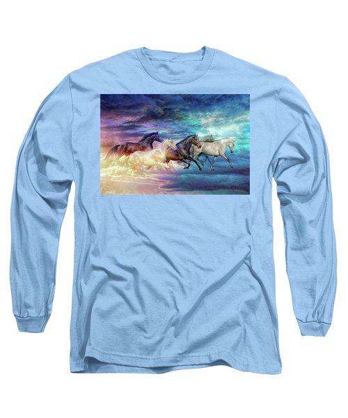 Herd Of Horses In Pastel Long Sleeve T-Shirt