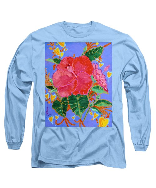 Hibiscus Motif Long Sleeve T-Shirt