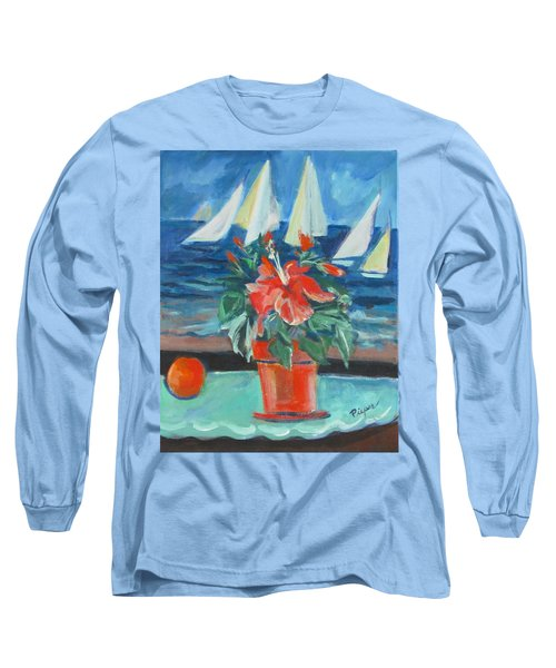 Hibiscus With An Orange And Sails For Breakfast Long Sleeve T-Shirt
