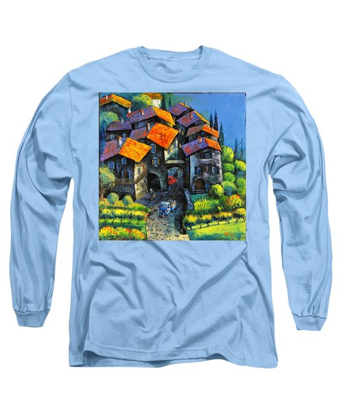 Long Sleeve T-Shirt featuring the painting Hilltop Willage by Mikhail Zarovny