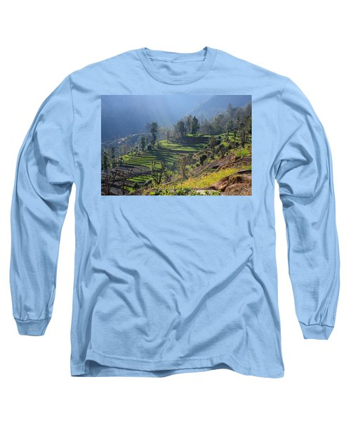 Himalayan Stepped Fields - Nepal Long Sleeve T-Shirt