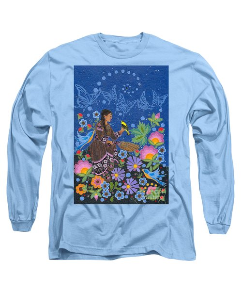Long Sleeve T-Shirt featuring the painting Hole In The Sky's Daughter by Chholing Taha