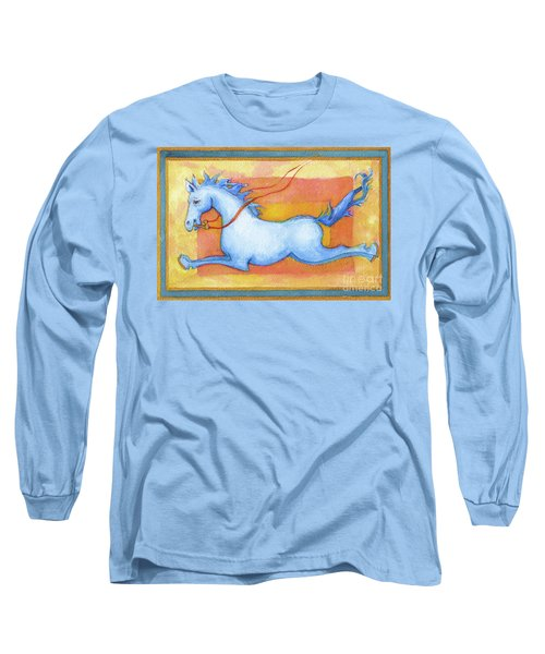 Horse Detail From H Medieval Alphabet Print Long Sleeve T-Shirt