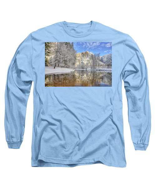Horsetail Fall Reflections Winter Yosemite National Park Long Sleeve T-Shirt