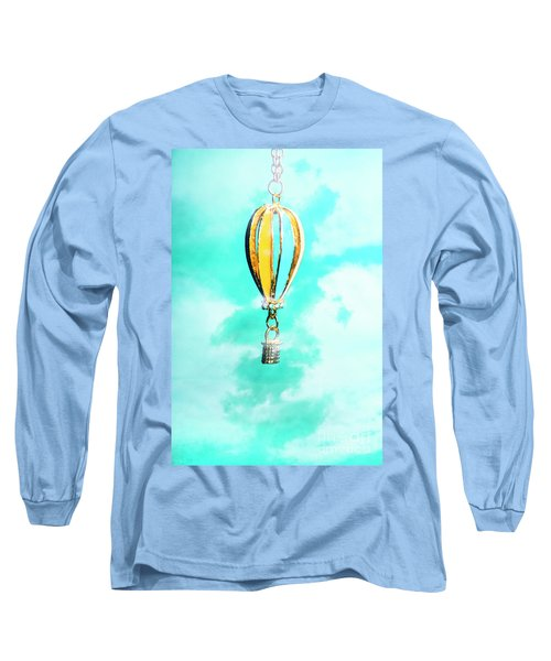 Hot Air Balloon Pendant Over Cloudy Background Long Sleeve T-Shirt