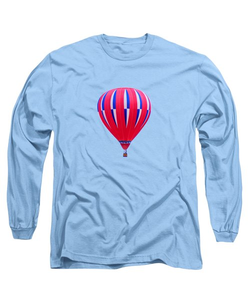 Hot Air Balloon - Red White Blue - Transparent Long Sleeve T-Shirt by Nikolyn McDonald