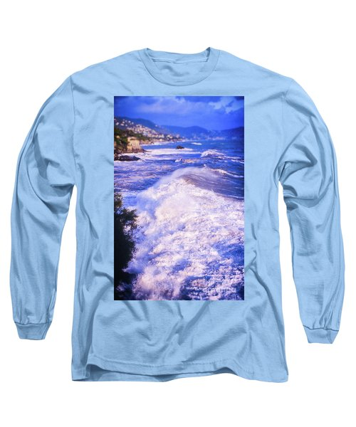 Long Sleeve T-Shirt featuring the photograph Huge Wave In Ligurian Sea by Silvia Ganora