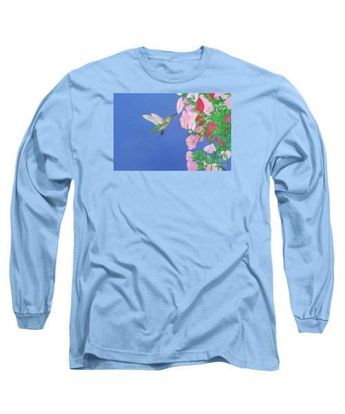 Hummingbird And Petunias Long Sleeve T-Shirt