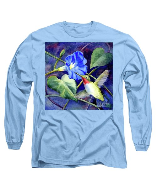 Long Sleeve T-Shirt featuring the painting Hummingbird Delight by Bonnie Rinier