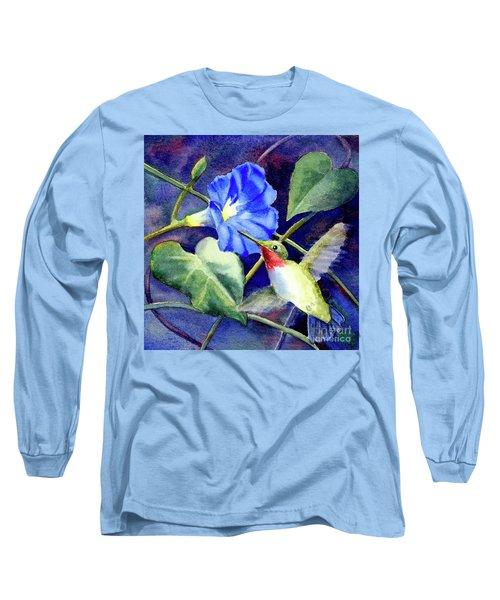 Hummingbird Delight Long Sleeve T-Shirt by Bonnie Rinier
