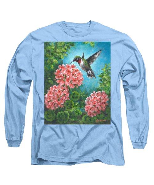 Long Sleeve T-Shirt featuring the painting Hummingbird Heaven by Kim Lockman