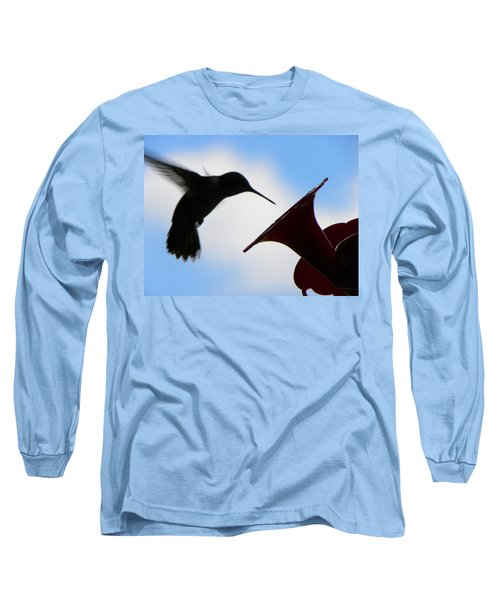 Long Sleeve T-Shirt featuring the photograph Hummingbird Silhouette by Sandi OReilly