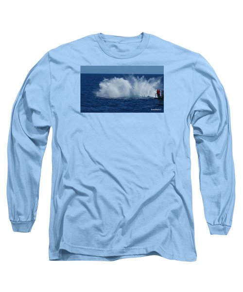 Humpback Whale Breaching Close To Boat 23 Image 3 Of 4 Long Sleeve T-Shirt by Gary Crockett