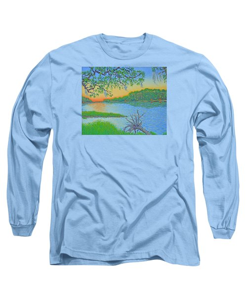 Long Sleeve T-Shirt featuring the painting Hunting Island Lagoon 2 by Dwain Ray