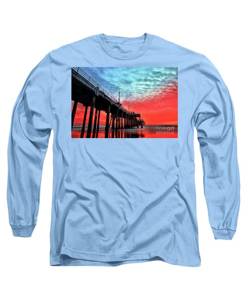 Huntington Beach Pier Sunset Long Sleeve T-Shirt