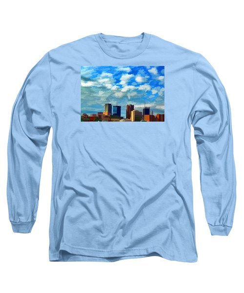Huntsville Alabama Skyline Abstract Art Long Sleeve T-Shirt by Lesa Fine