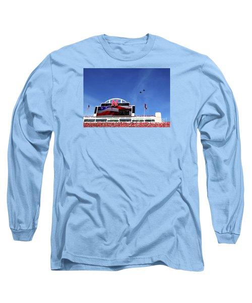 Husker Memorial Stadium Air Force Fly Over Long Sleeve T-Shirt