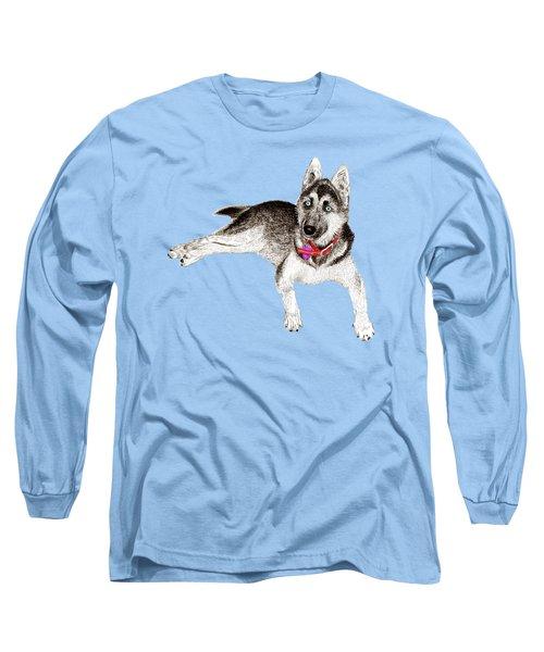 Husky Puppy Bella Long Sleeve T-Shirt by Jack Pumphrey