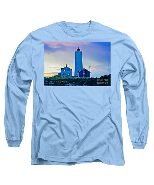 Iceland Lighthouse Long Sleeve T-Shirt by Michael Cinnamond