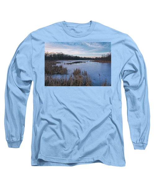 Icy Glazed Wetlands Long Sleeve T-Shirt by Angelo Marcialis