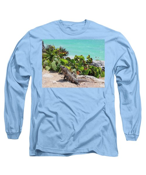 Long Sleeve T-Shirt featuring the photograph Iguana At Tulum by Roupen  Baker