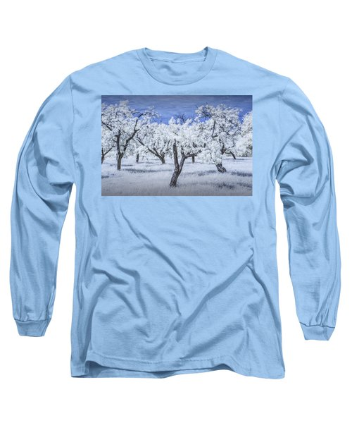 Infrared  Photograph Of A Cherry Orchard Long Sleeve T-Shirt