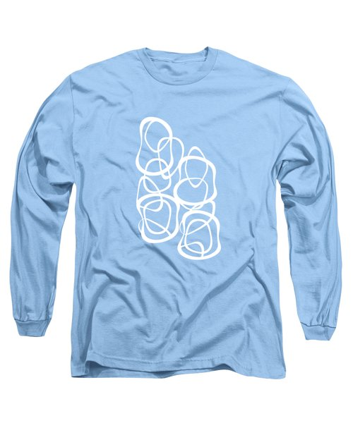 Long Sleeve T-Shirt featuring the digital art Interlocking - White On Aqua - Pattern by Menega Sabidussi