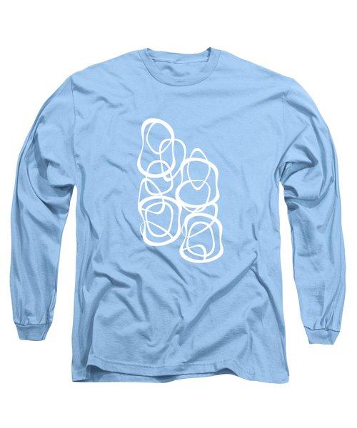 Interlocking - White On Aqua - Pattern Long Sleeve T-Shirt