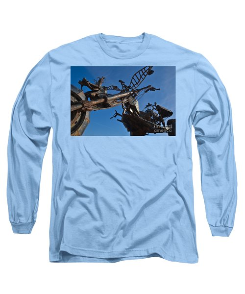 Iron Motorcycle Sculpture In Faro Long Sleeve T-Shirt