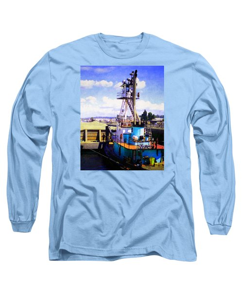 Long Sleeve T-Shirt featuring the photograph Island Chief In The Ballard Locks by Timothy Bulone
