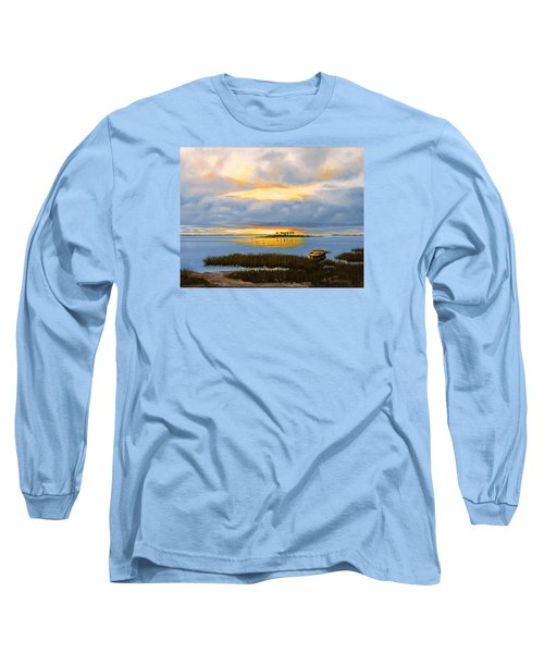 Long Sleeve T-Shirt featuring the painting Island Sunset by Rick McKinney