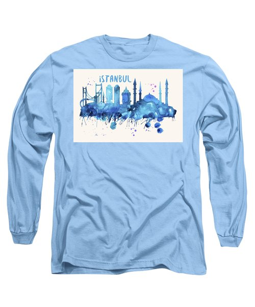 Istanbul Skyline Watercolor Poster - Cityscape Painting Artwork Long Sleeve T-Shirt