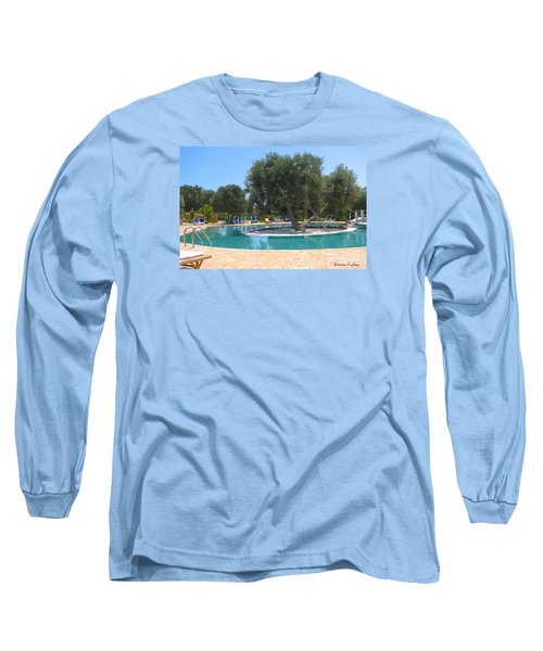 Italy Resort- Olive Tree In Pool Long Sleeve T-Shirt