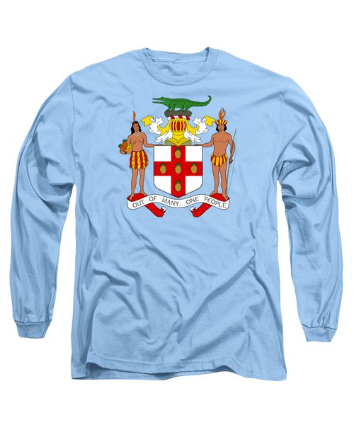 Long Sleeve T-Shirt featuring the drawing Jamaica Coat Of Arms by Movie Poster Prints