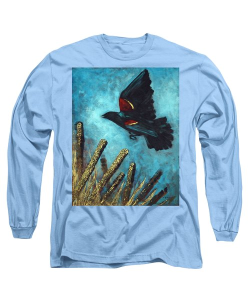 Long Sleeve T-Shirt featuring the painting Jewel Among The Cattails by Suzanne McKee