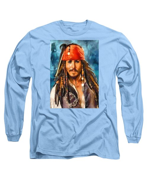 Johnny Depp As Jack Sparrow Long Sleeve T-Shirt by Charmaine Zoe
