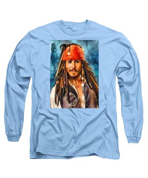 Johnny Depp As Jack Sparrow Long Sleeve T-Shirt