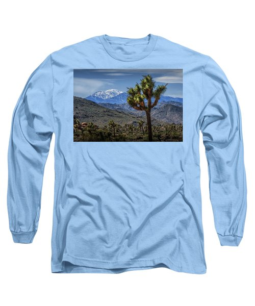 Long Sleeve T-Shirt featuring the photograph Joshua Tree In Joshua Park National Park With The Little San Bernardino Mountains In The Background by Randall Nyhof