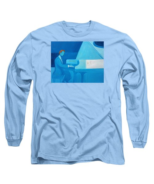 Justin Levitt Steinway Piano Blue Long Sleeve T-Shirt