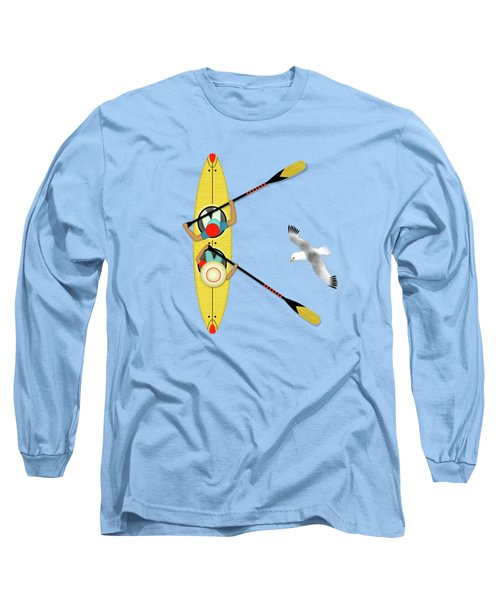K Is For Kayak And Kittiwake Long Sleeve T-Shirt by Valerie Drake Lesiak