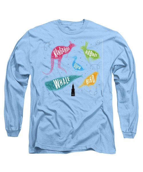 Kangaroo - Rabbit - Duck - Whale - Bird In Colors Long Sleeve T-Shirt by Aloke Creative Store