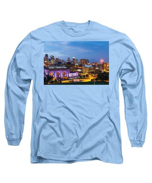 Kansas City Night Sky Long Sleeve T-Shirt by Steven Bateson