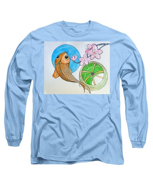 Karp And Cherry Blooms Long Sleeve T-Shirt