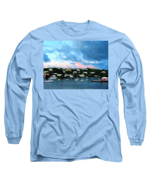 Long Sleeve T-Shirt featuring the photograph King's Wharf Bermuda Harbor Sunrise by Susan Savad