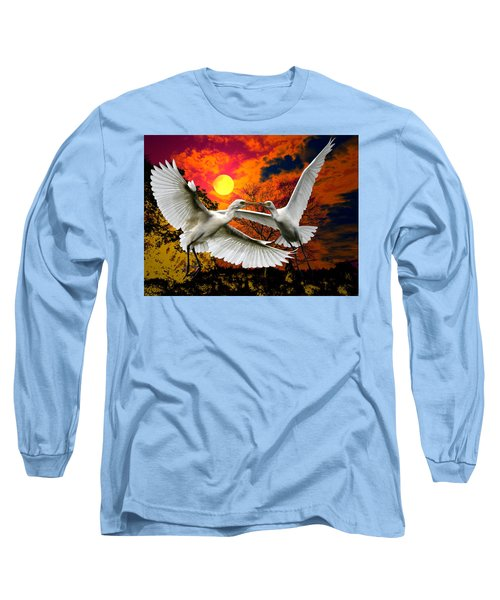 Long Sleeve T-Shirt featuring the digital art Kiss In The Moon Light by Bliss Of Art
