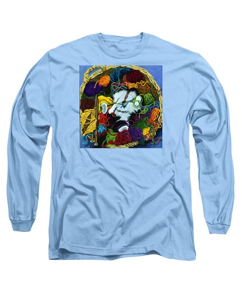 Long Sleeve T-Shirt featuring the painting Knitter's Helper - Cat Painting by Linda Apple