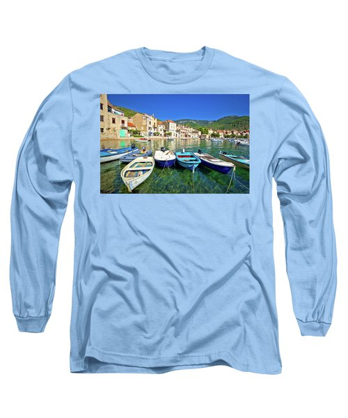 Komiza On Vis Island Turquoise Waterfront Long Sleeve T-Shirt by Brch Photography