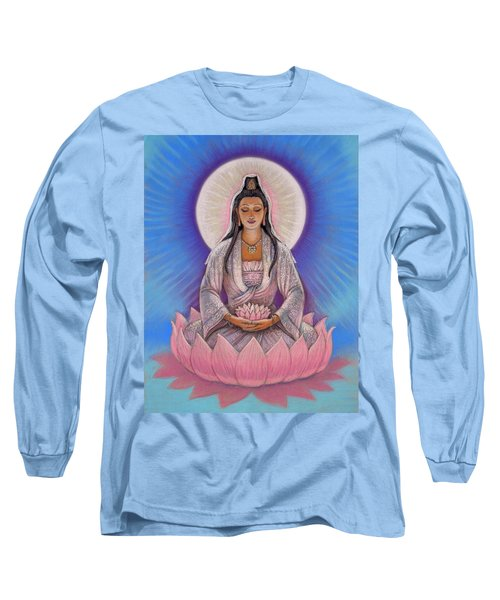 Long Sleeve T-Shirt featuring the painting Kuan Yin by Sue Halstenberg