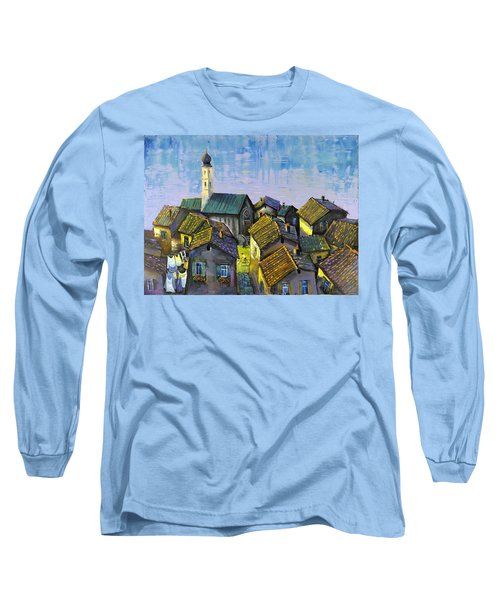 Long Sleeve T-Shirt featuring the painting Lago   Caldonazza by Mikhail Zarovny