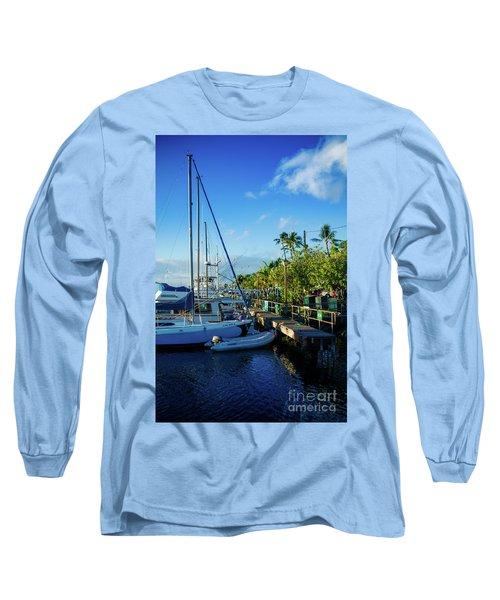 Long Sleeve T-Shirt featuring the photograph Lahaina Marina Blue Twilight by Sharon Mau